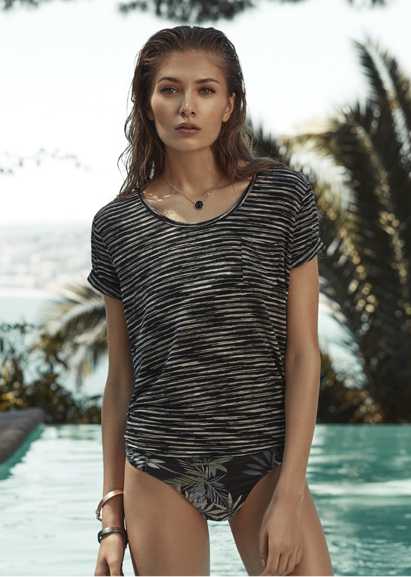 REISS Striped Alva T-Shirt and Avery B Bikini Briefs