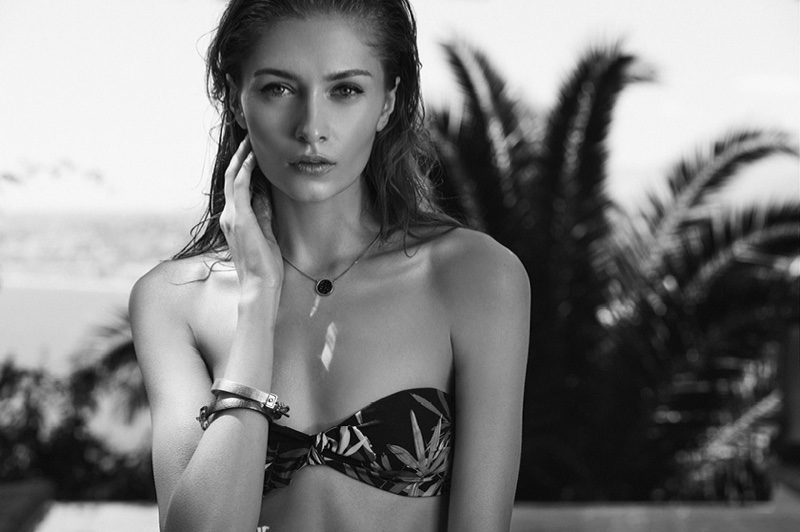REISS Avery T Bandeau Bikini Top and Illie Drop Pendant Necklace with Swarovski Crystals