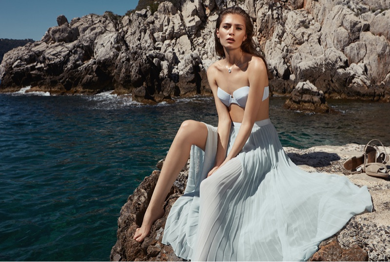 REISS Jourdan T Structured Bikini Top, Rafa Maxi Skirt and Illie Pendant Necklace with Swarovski Crystals