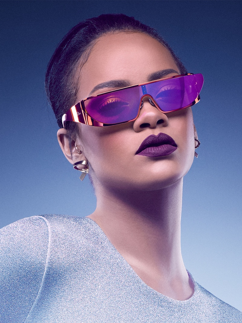Rihanna wears purple frames from Dior collaboration