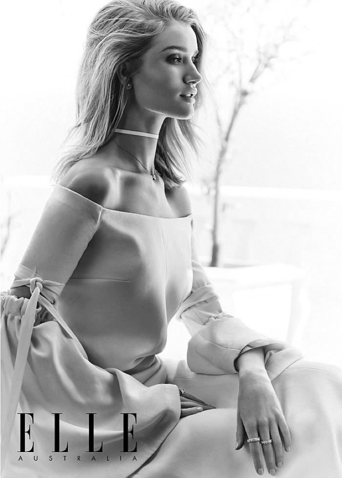 Rosie Huntington-Whiteley wears white off-the-shoulder Ellery dress