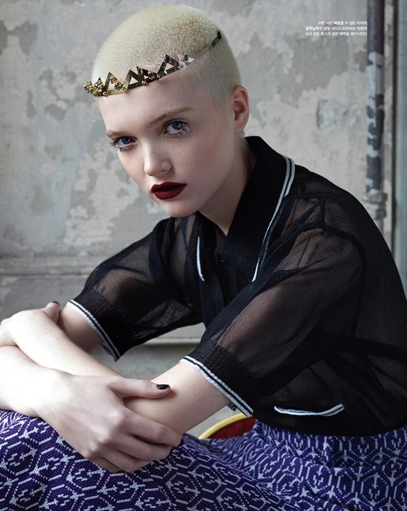 Ruth Bell poses in Miu Miu collared top with metallic headband