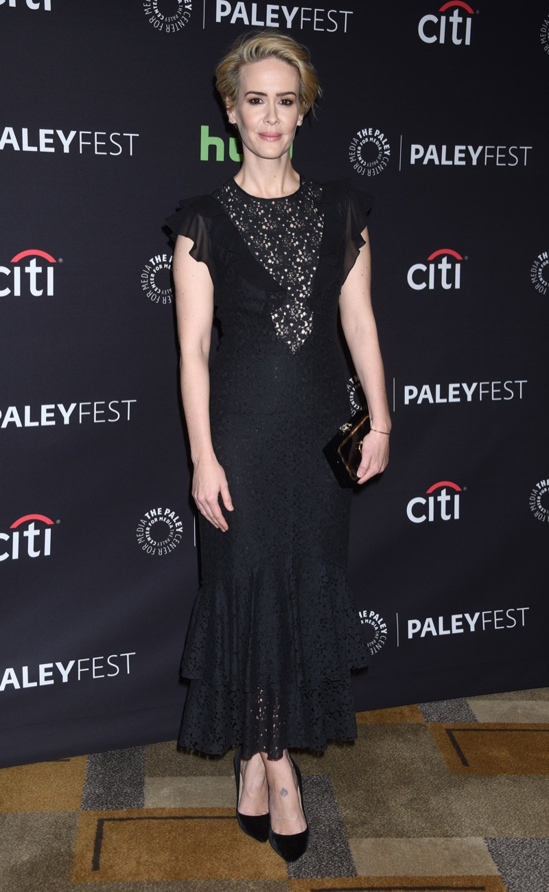 MARCH 2016: Sarah Paulson attends a 2016 Paleyfest Panel for American Horror Story Hotel wearing a black Philosophy dress. Photo: Ga Fullner / Shutterstock.com