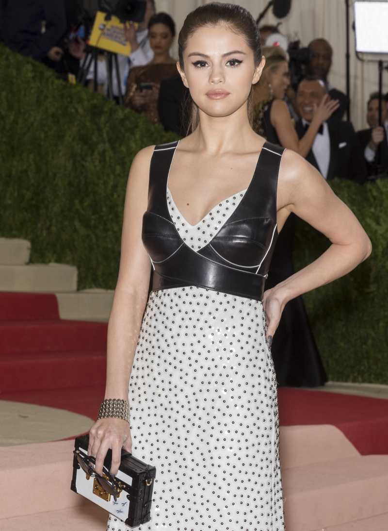 MAY 2016: Selena Gomez attends the 2016 Met Gala wearing Louis Vuitton bustier and dress. Photo: Ovidiu Hrubaru / Shutterstock.com