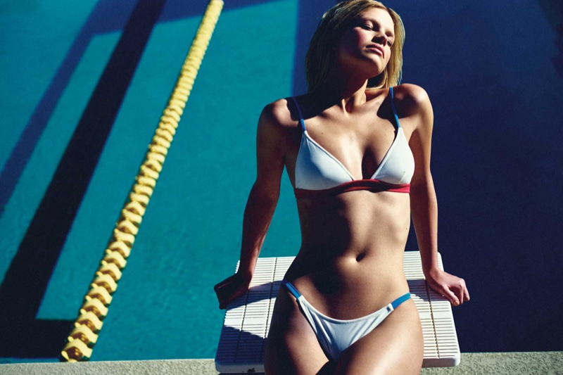 Nadine Leopold wears Morgan bikini top and bottoms from Solid & Stripe