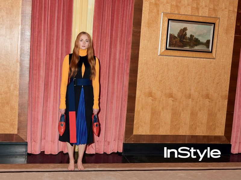 Sophie Turner poses in an art-deco house in Greenwich, London