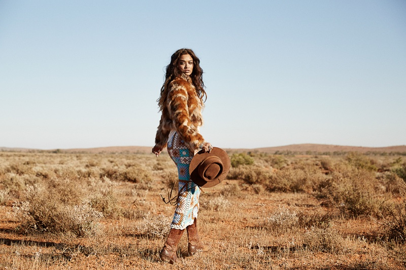 Shanina Shaik wears western inspired looks from Spell's Revolver collection