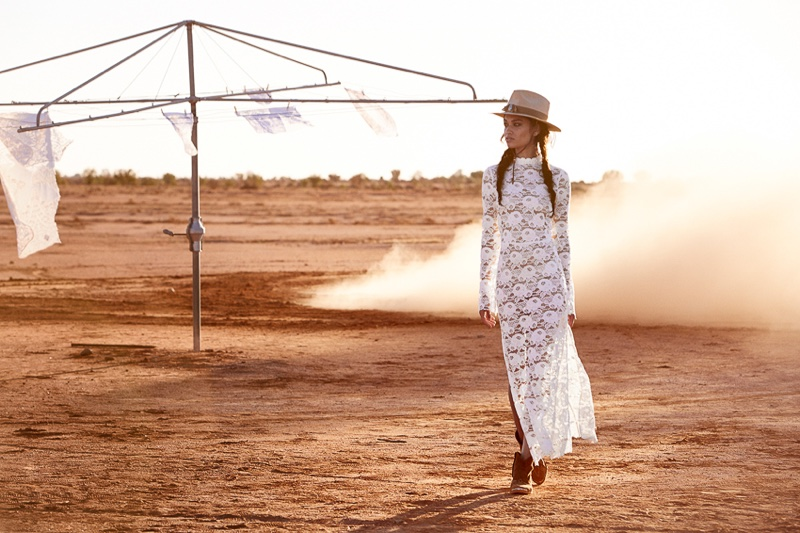 Shanina Shaik wears Spell's Rosamund lace maxi dress