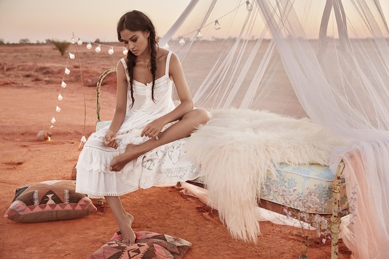 The Australian model wears Spell's Prairie lace sun dress