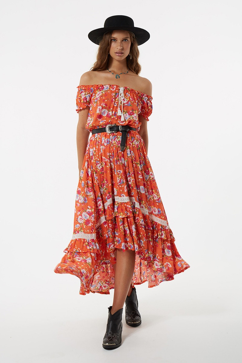 Spell Revolver Off-the-Shoulder Kerchief Dress