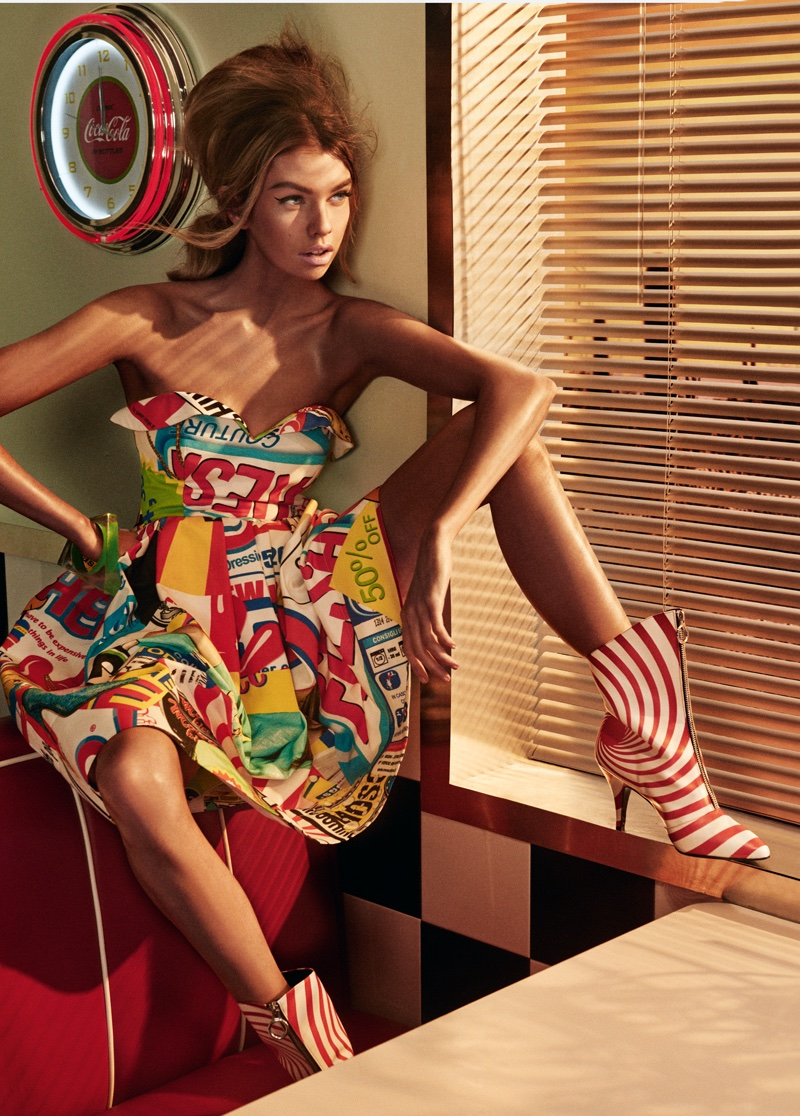 Stella Maxwell Wears Jeremy Scott's Colorful Designs for The Daily Summer