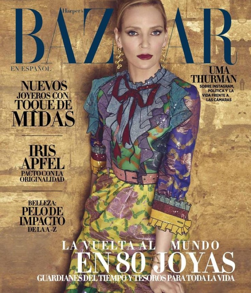 Uma Thurman on Harper's Bazaar Mexico May 2016 Cover