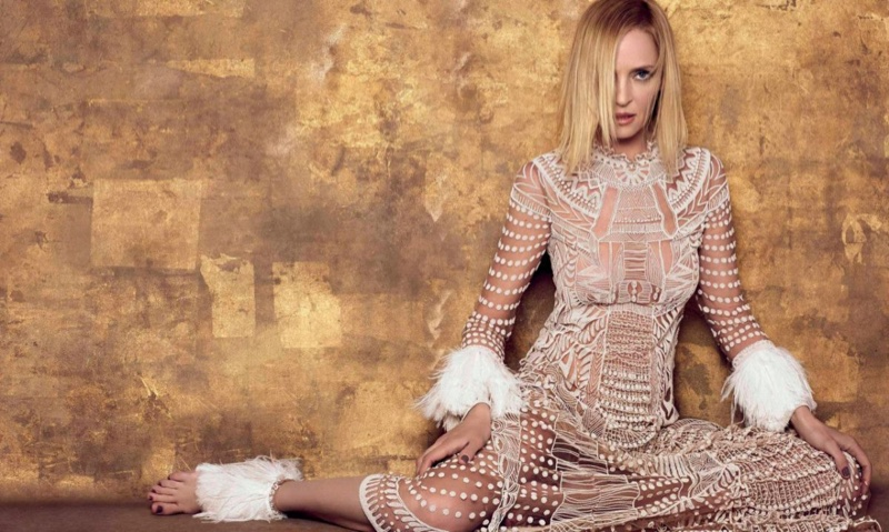 Uma Thurman wears Valentino dress with fringed sleeves
