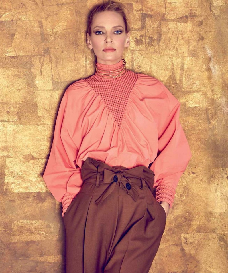Uma Thurman wears Fendi blouse and pants