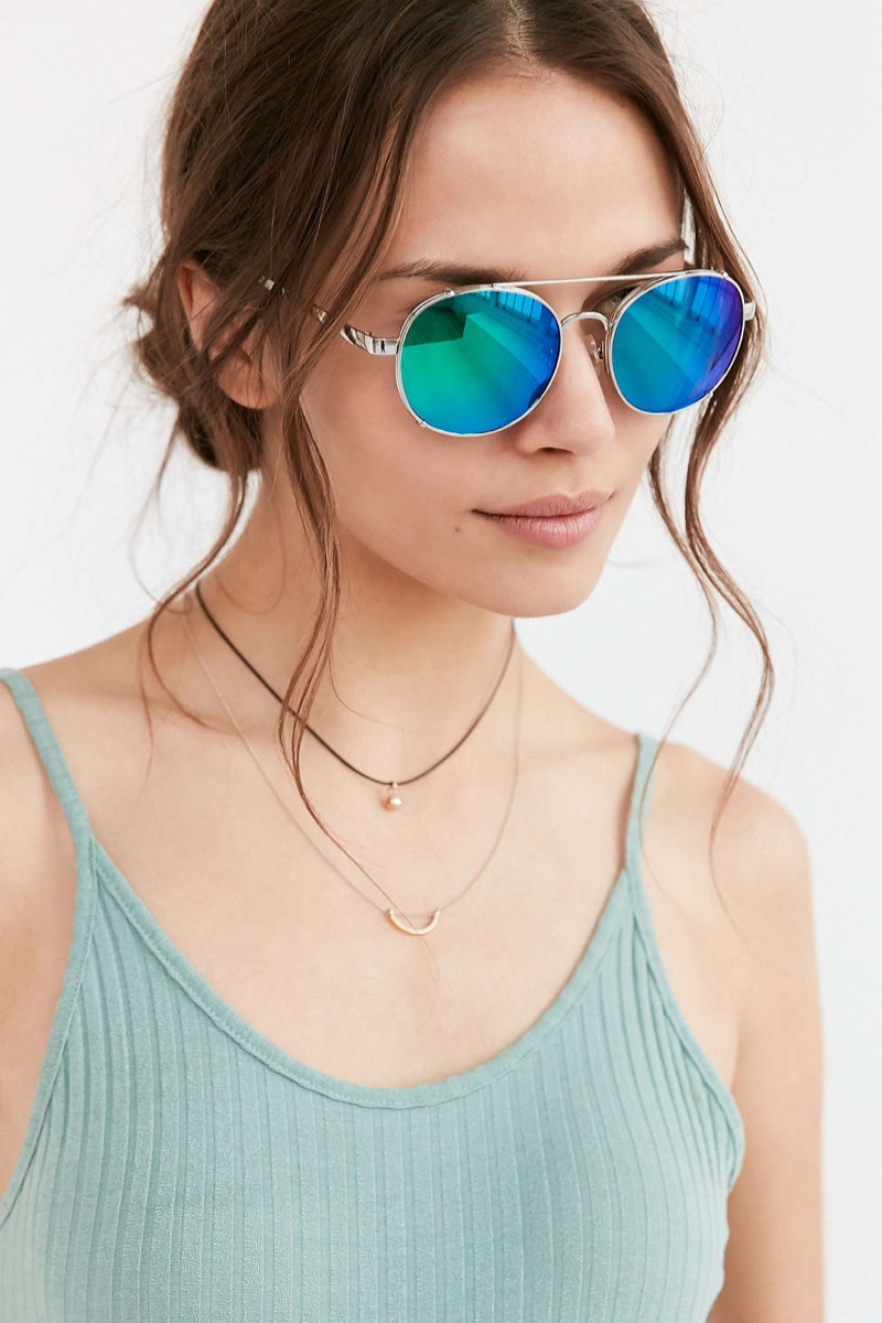 Urban Outfitters Beach Babe Rounded Aviator Sunglasses