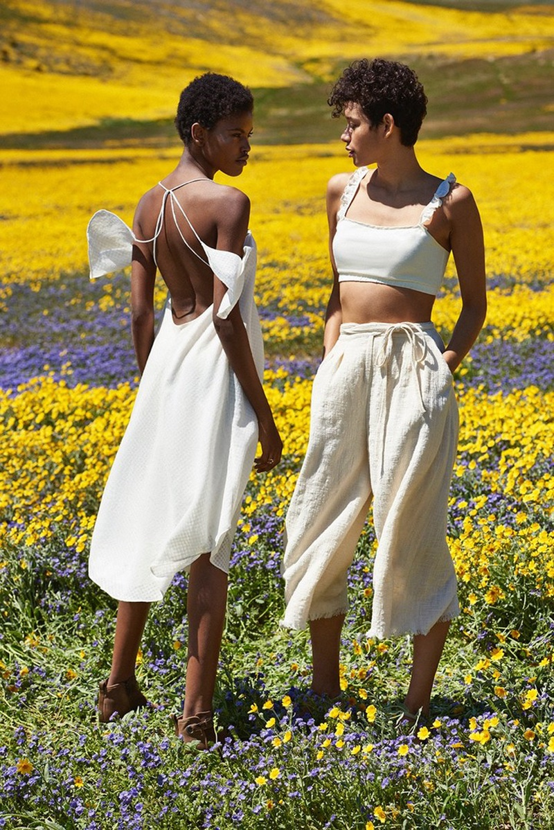 (Left) Silence + Noise Ella Cold-Shoulder Midi Dress (Right) Kimchi Blue Kendall CroppedTop, Native Youth Seersucker Culotte Pant