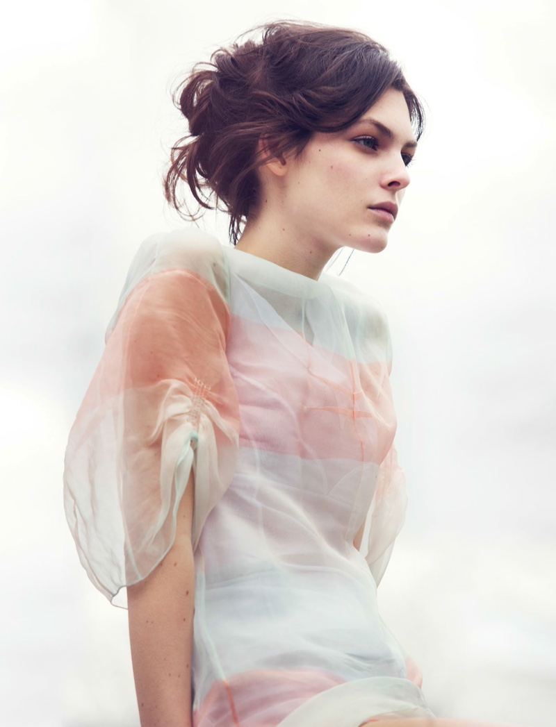 Getting her closeup, Vittoria Ceretti models Dior sheer dress with underwear also from the brand