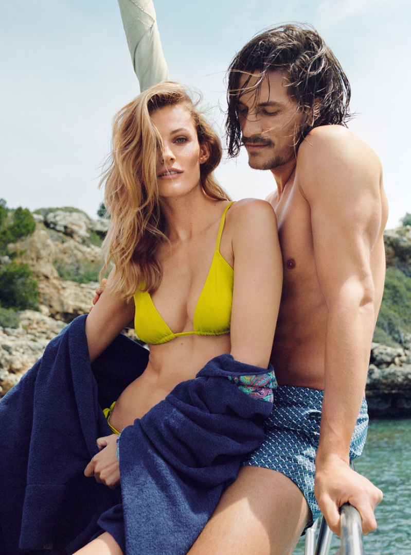 Edita Vilkeviciute cozies up to Jarrod Scott in yellow triangle bikini top from Zara Home