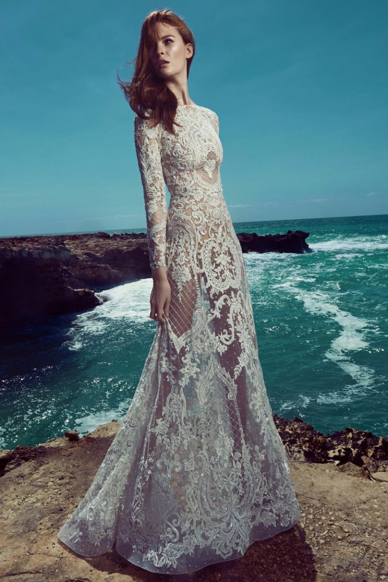 2d88601d8b3a Zuhair Murad Bridal's spring 2017 collection features sheer long sleeve  gown with lace embellishment