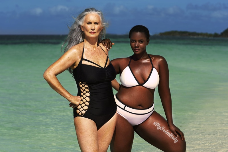 Nicola Griffin and Philomena Kwao pose in swimsuitsforall campaign