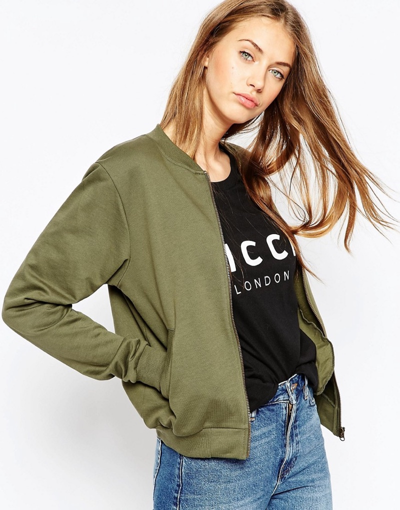 ASOS Bomber Jersey Jacket in Olive Green