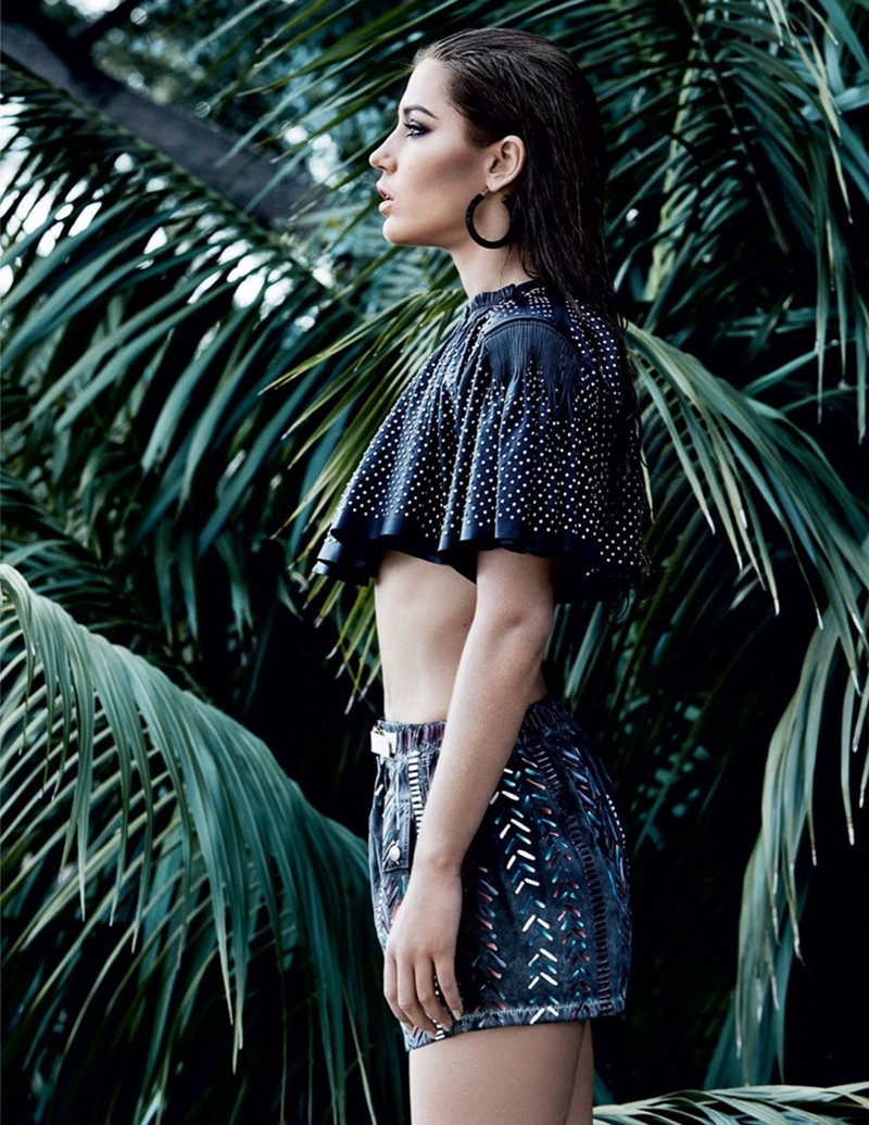 Adèle Exarchopoulos wears cropped ruffle top and embroidered shorts from Louis Vuitton