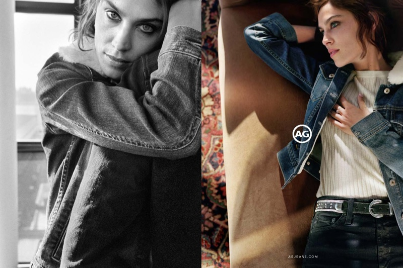 Alexa Chung wears denim styles in AG Jeans' fall 2016 campaign