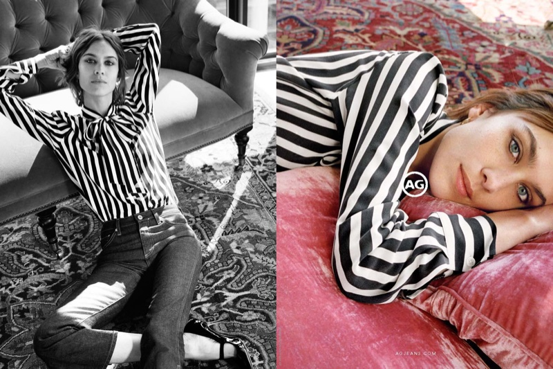 Alexa Chung wears striped top and denim in AG Jeans' fall-winter 2016 campaign