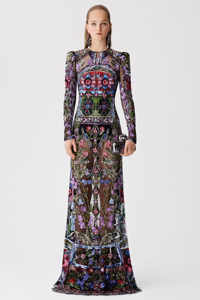 Alexander McQueen Resort 2017: Long-sleeve flower embroidered gown