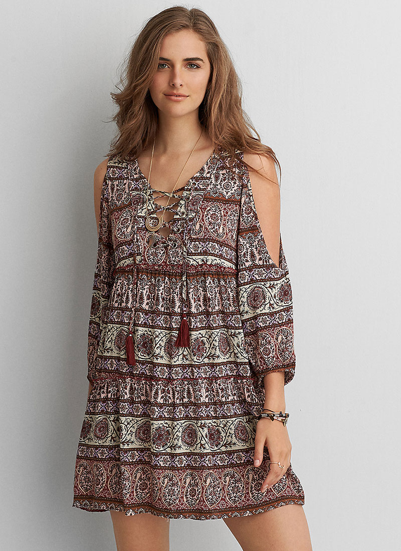 American Eagle Lace-Up Long Sleeve Dress