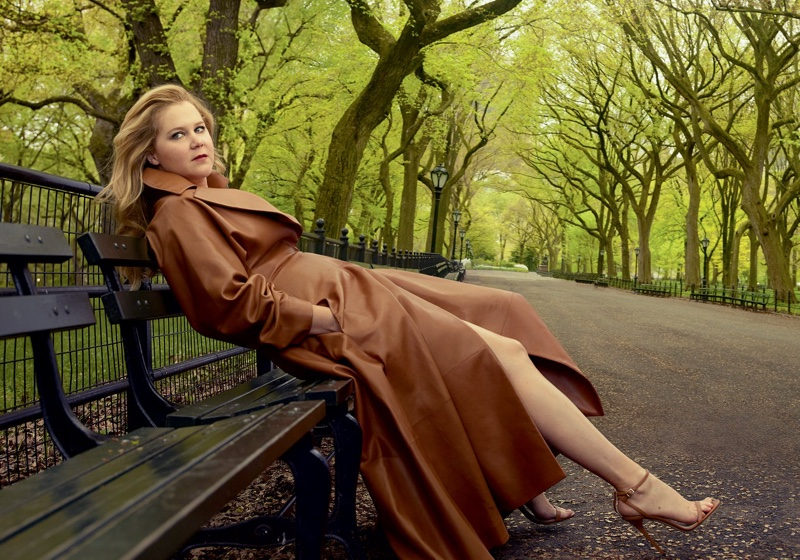 Amy Schumer wears The Row leather coat with Jimmy Choo heels