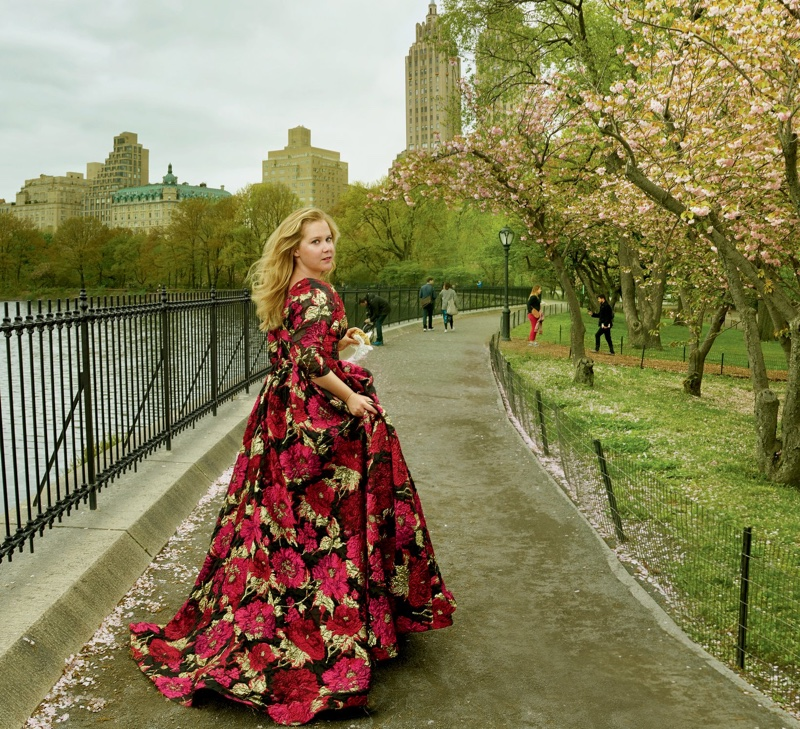 Posing in Central Park, Amy Schumer wears embroidered gown from Naeem Khan