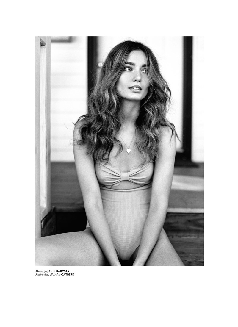 Andreea Daiconu poses in Marysia bikini top and high-waist bottoms