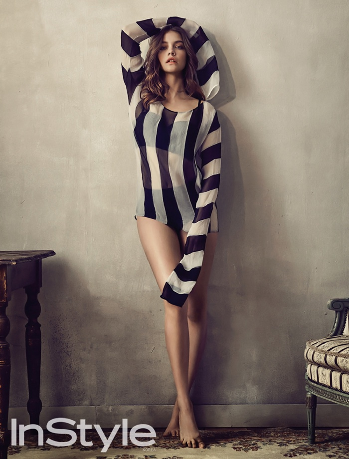 Barbara Palvin wears striped top
