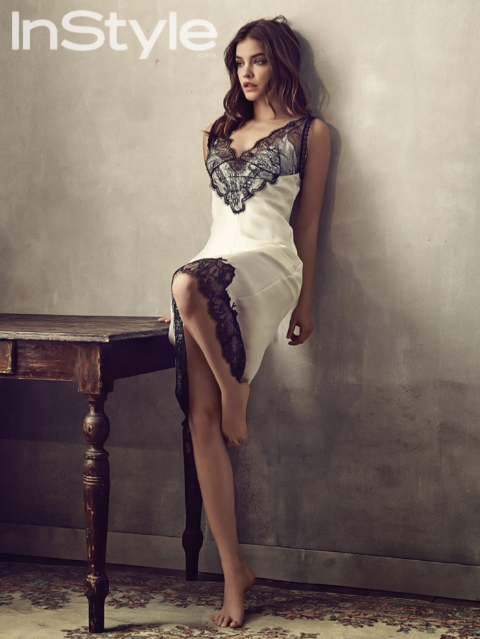 Barbara Palvin models Chloe slip dress with lace