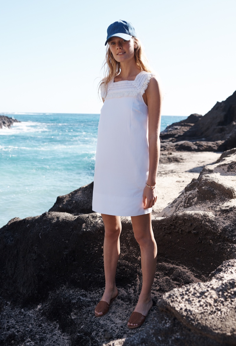 Madewell Sundream Embroidered Dress, Baseball Cap and Willa Leather Sandal