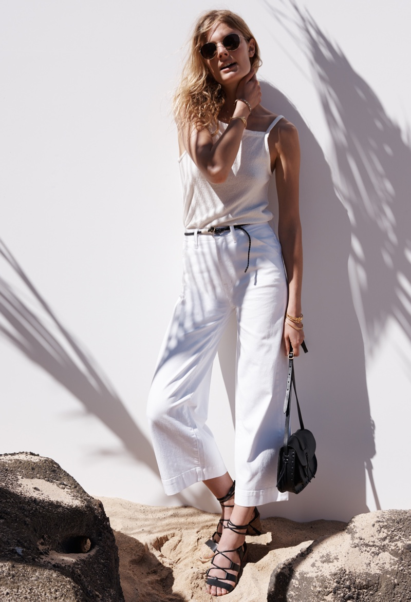 Madewell White Wide-Leg Crop Jeans, High-Neck Apron Tank and Daniela Lace-Up Sandal