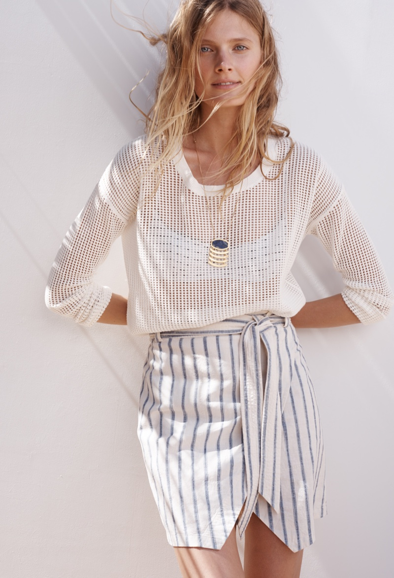 Madewell Portside Skirt, Threadgrid Pullover and Geometric Necklace