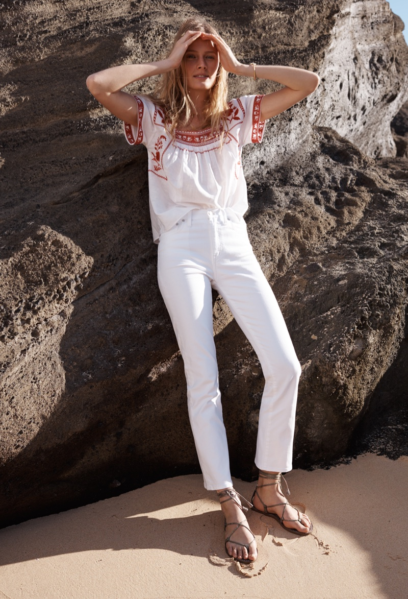 Madewell Wildfield Embroidered Top, White Cali Demi-Boot Jeans and Boardwalk Lace-Up Sandal