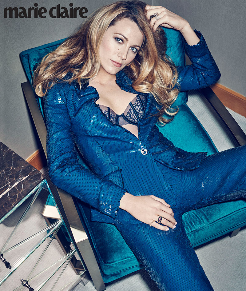 Blake Lively wears sequin embellished pantsuit in Marie Claire