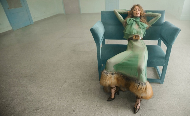 Blumarine's fall-winter 2016 campaign features fur embellished dress