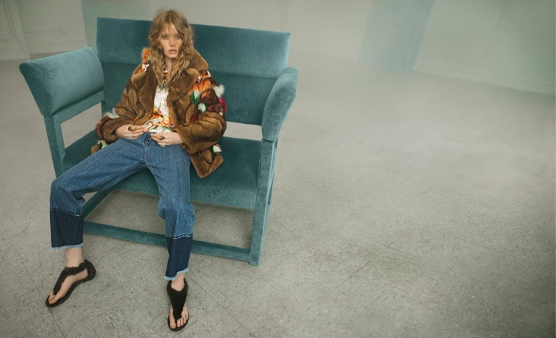 Blumarine matches denim with fur jacket for fall 2016 campaign
