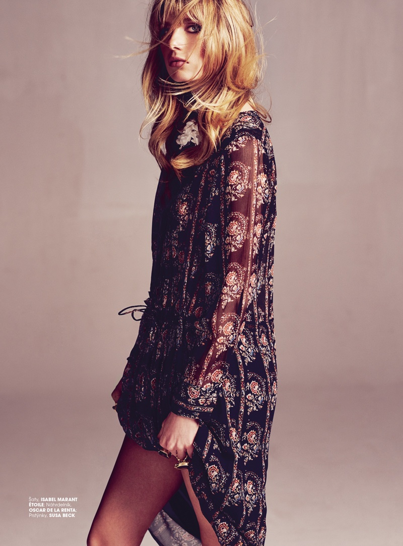 Lian models a printed dress from Isabel Marant Etoile