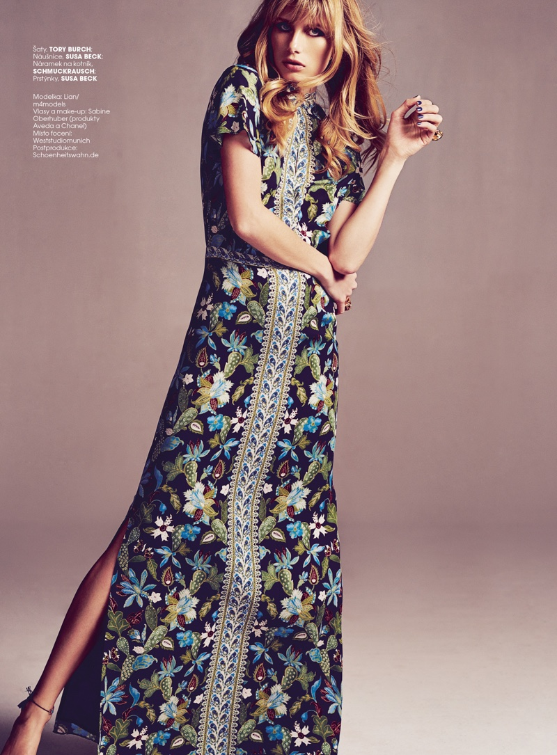 Lian poses in Tory Burch print maxi dress
