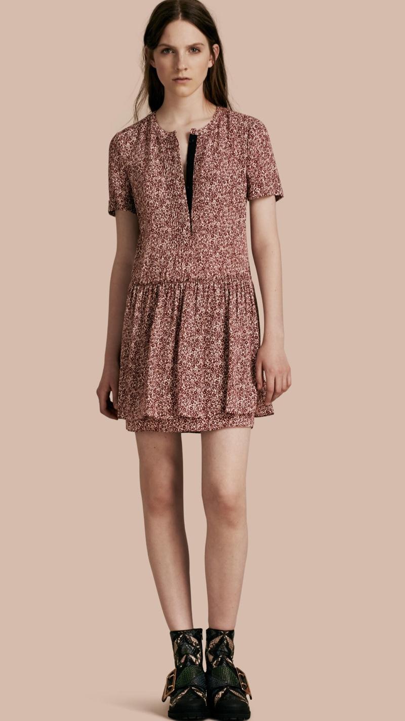 Burberry Floral Silk Georgette Shift Dress