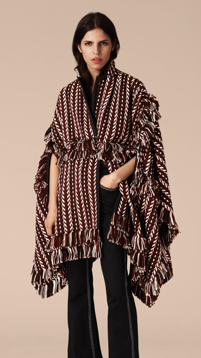 Burberry Fringed Wool Silk Cape Coat