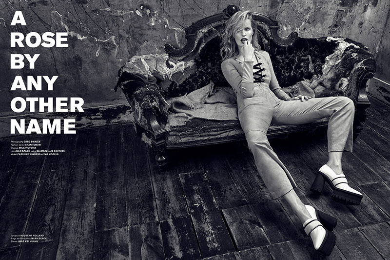 Caroline Winberg wears looks from the spring 2016 collections in the editorial
