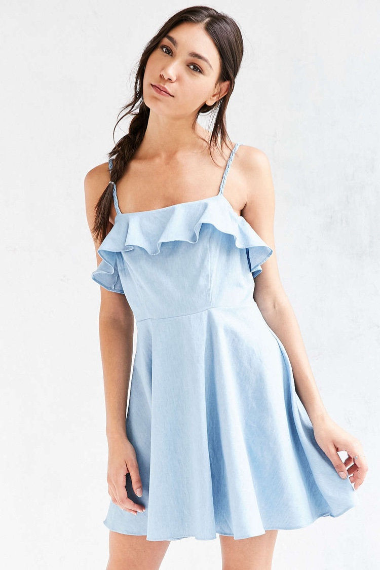 Cooperative Chambray Ruffle Fit & Flare Dress