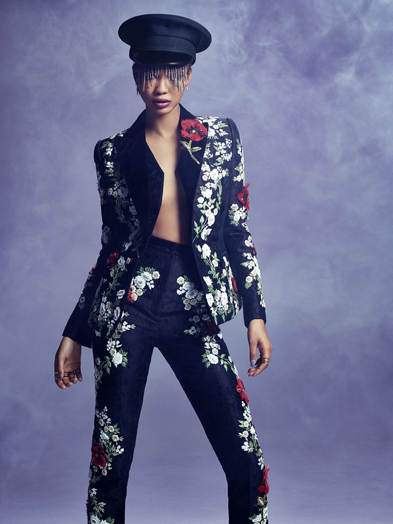 Chanel Iman wears embroidered pant suit from Dolce & Gabbana