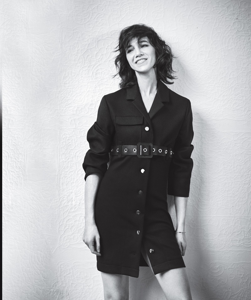 Charlotte Gainsbourg models buttoned-up jacket with belt